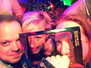 f(x) producer, Benedikte Bredesen (center) and head of promotion for TVN, Bjarte Slinning (left) celebrating at the awards ceremony.